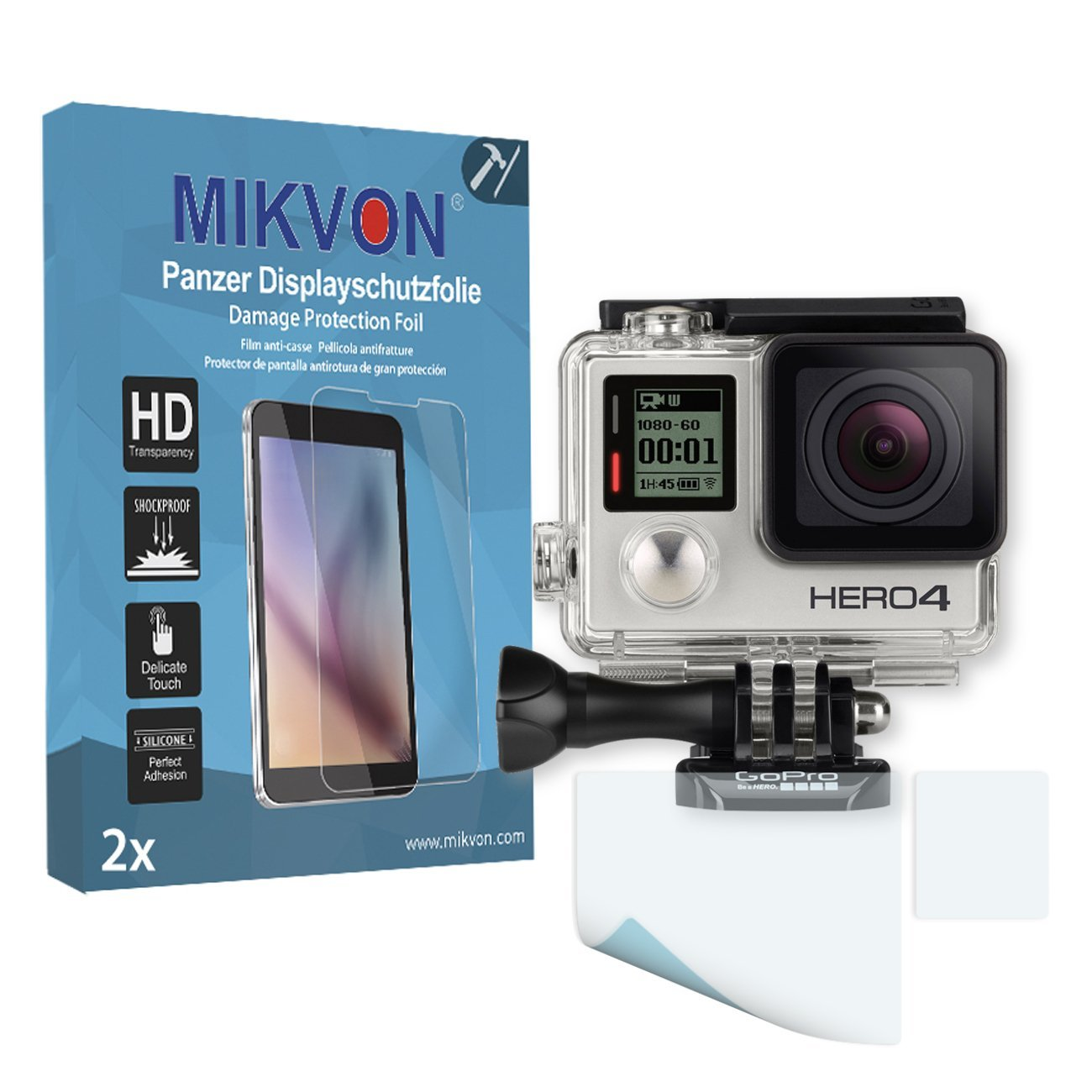 MIKVON 2X Armor Screen Protector for GoPro Hero 4 Screen Fracture Protection Film - Retail Package with Accessories