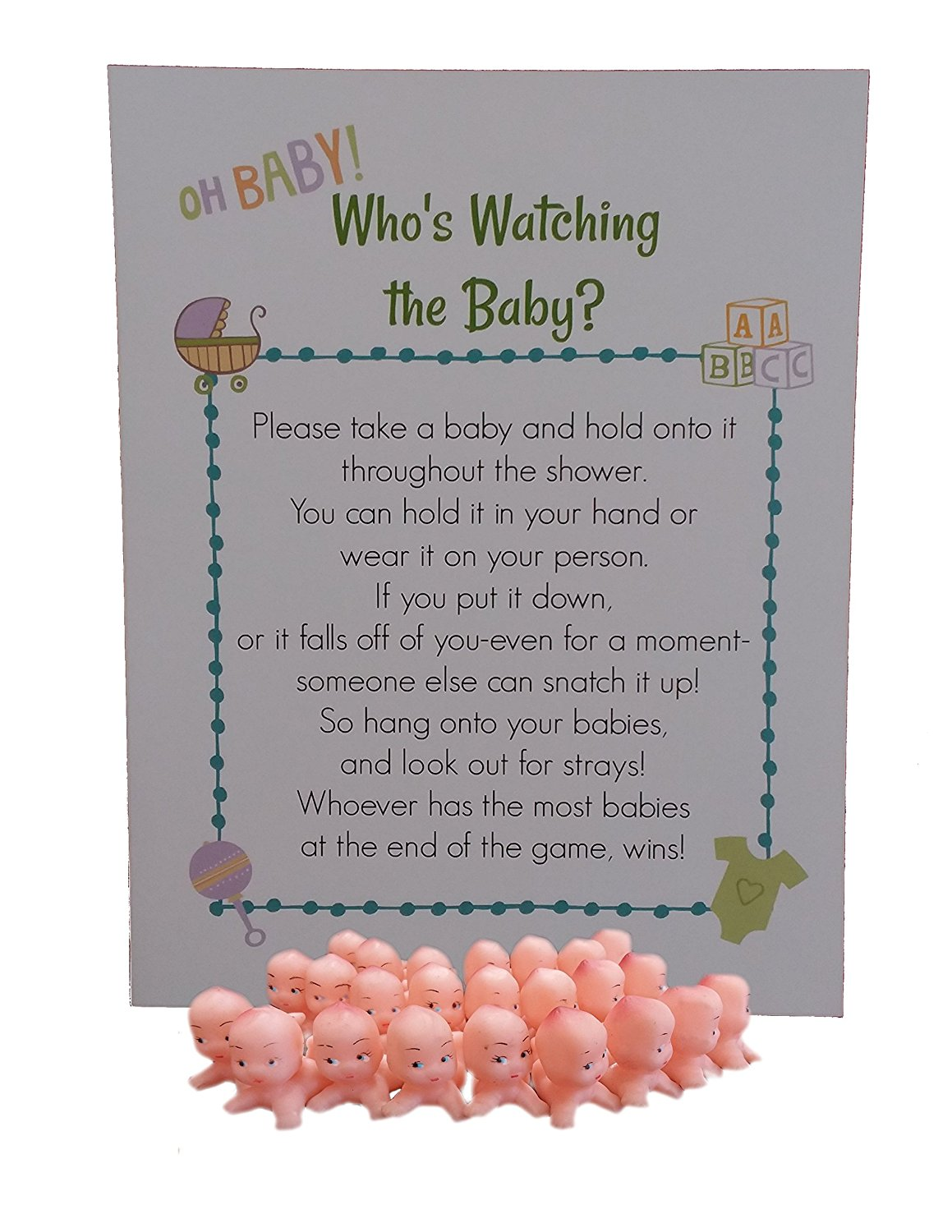 Whos Watching The Baby Shower Game for 24 Players with Plastic Babies and Instruction Sheet (Caucasian)
