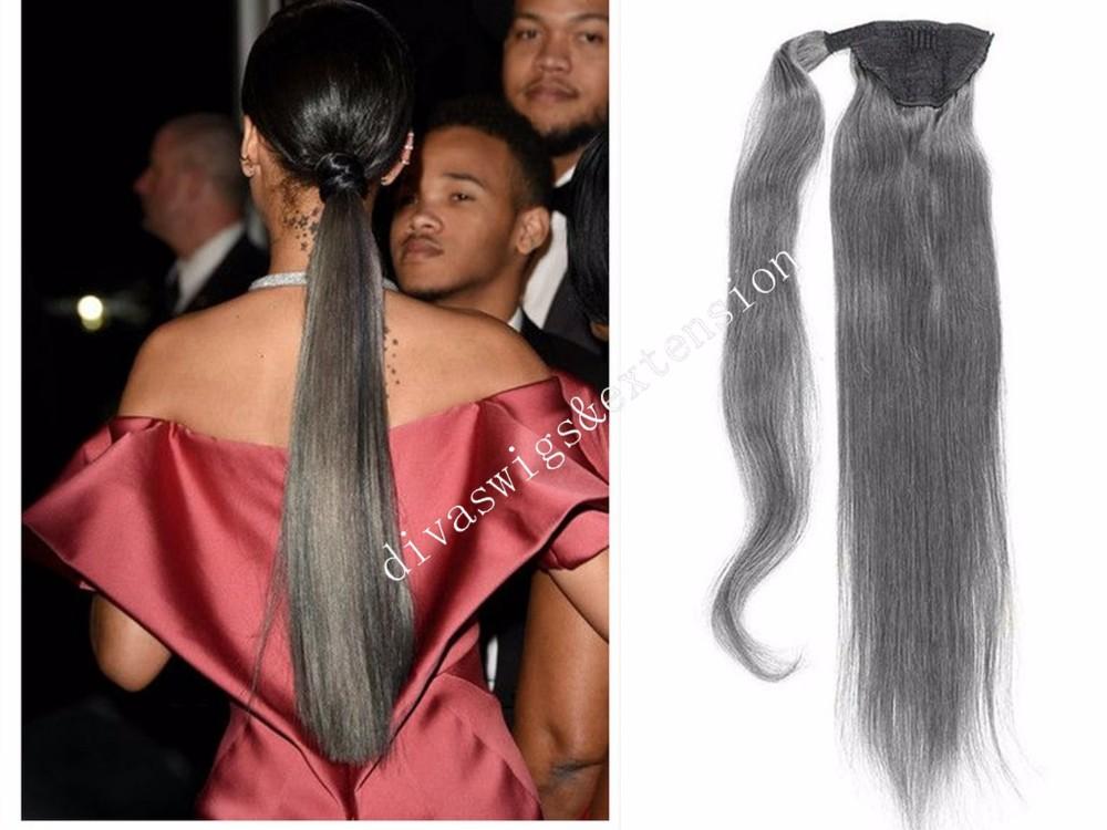 Ponytail 100% Human Hair Grey Snap On Long Ponytail
