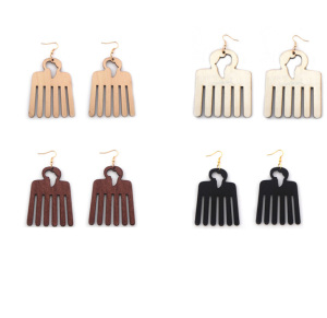 Zooying African comb wood earrings female fashion accessories