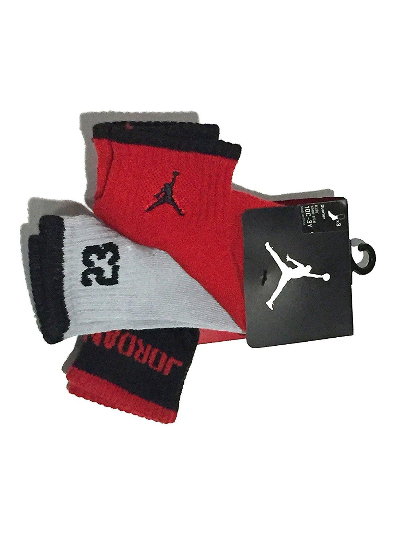 Nike Jumpmen Boys 3 Pairs/pack Quarter Socks, Grey/red/black (10C-3Y)