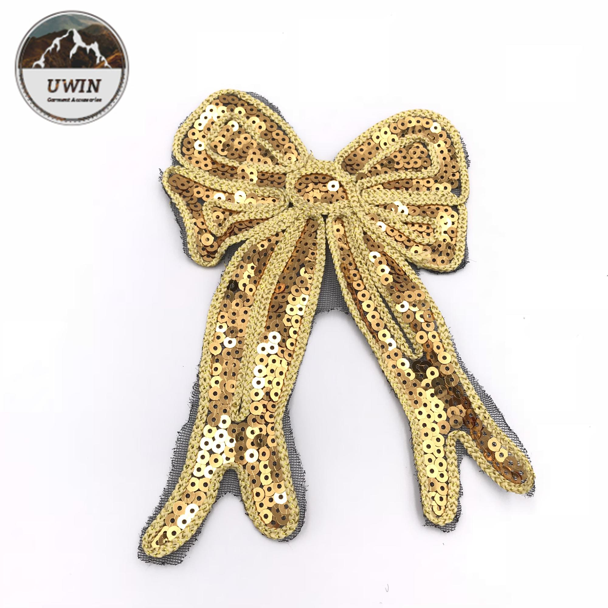 Assez D'or Arc Noeud Corde Brodé À Paillettes Patch pour Vente Fantastique Conception OEM Broderie Patches