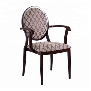 Wholesale upholstered fabric dining room metal cafe aluminum hotel restaurant arm dinning chairs modern