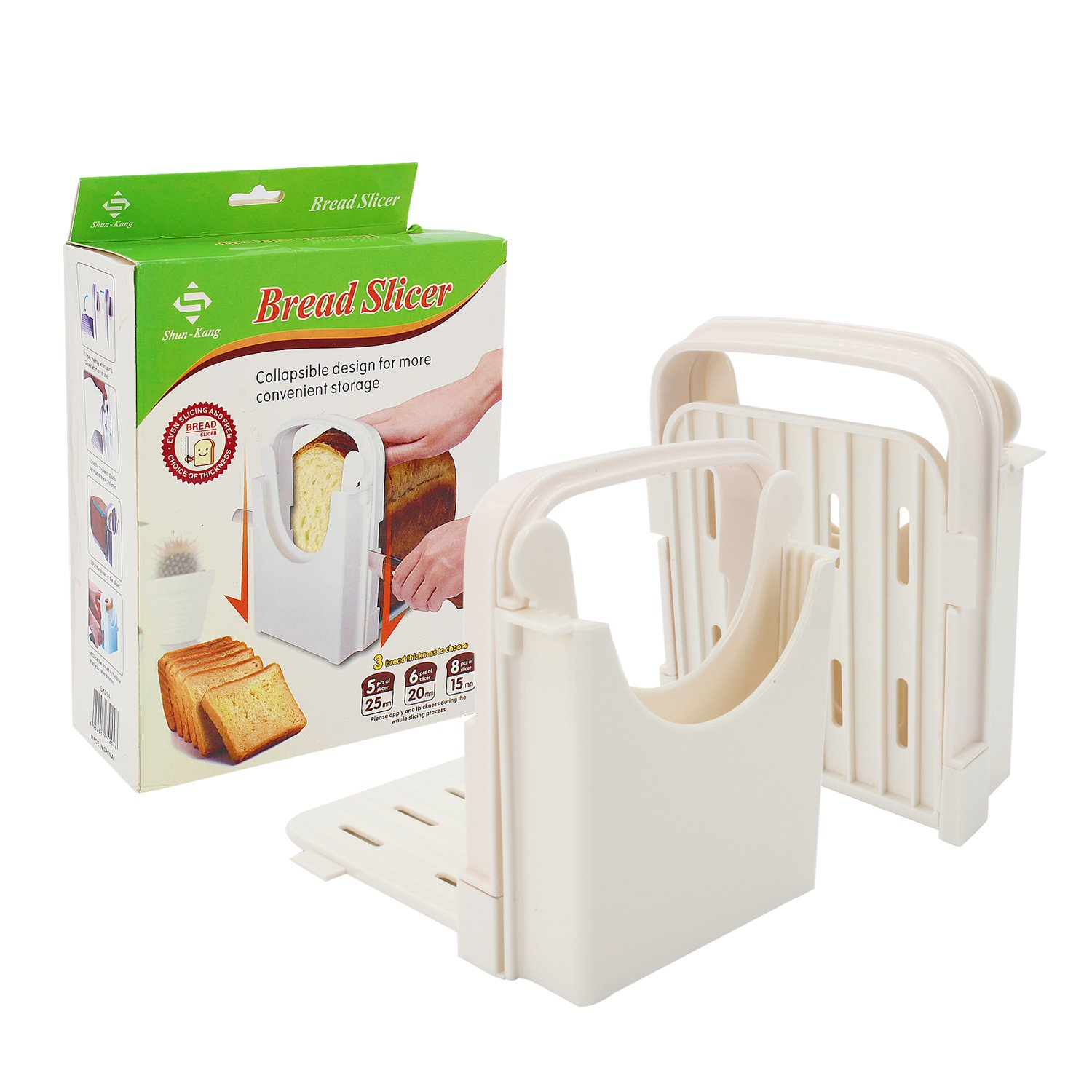 Zaker Bread/Toast Slicer, Loaf Slicer Cutter for Homemade Bread, ABS Environmentally Friendly Plastic, Foldable, Bread Cutting Guide and Adjustable with 4 Slice Thicknesses,White