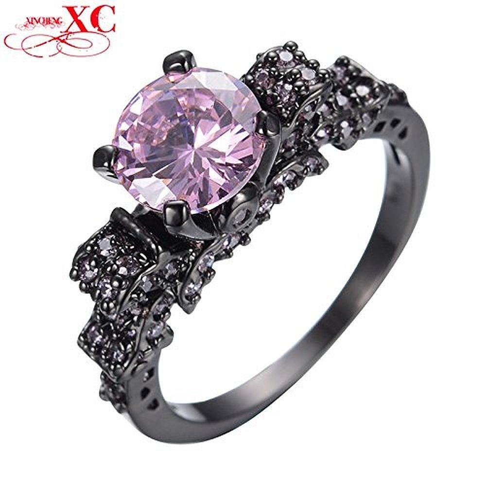 Sugar Memory Pink Round Rhinestone Ring Romantic Black Gold Filled CZ Wedding Engagement Female Christmas Jewelry Gift Anel