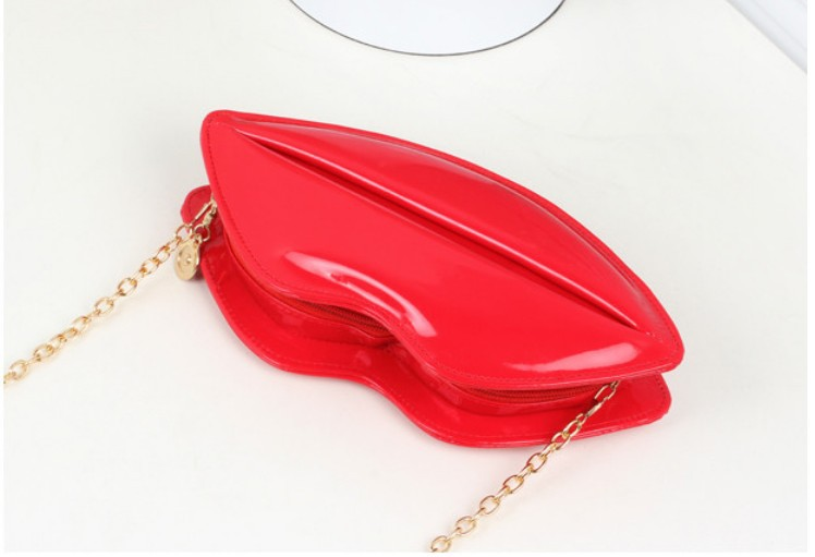 Get Quotations 3 Pieces Y Lip Bags Evening Party Red Lips Clutch Chain Shouder Patent Leather Bag