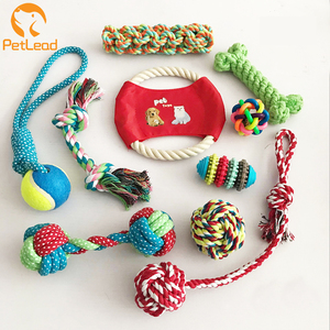 Custom pet dog chew toy 10 pack set ball rubber cotton rope squeaky dog toy