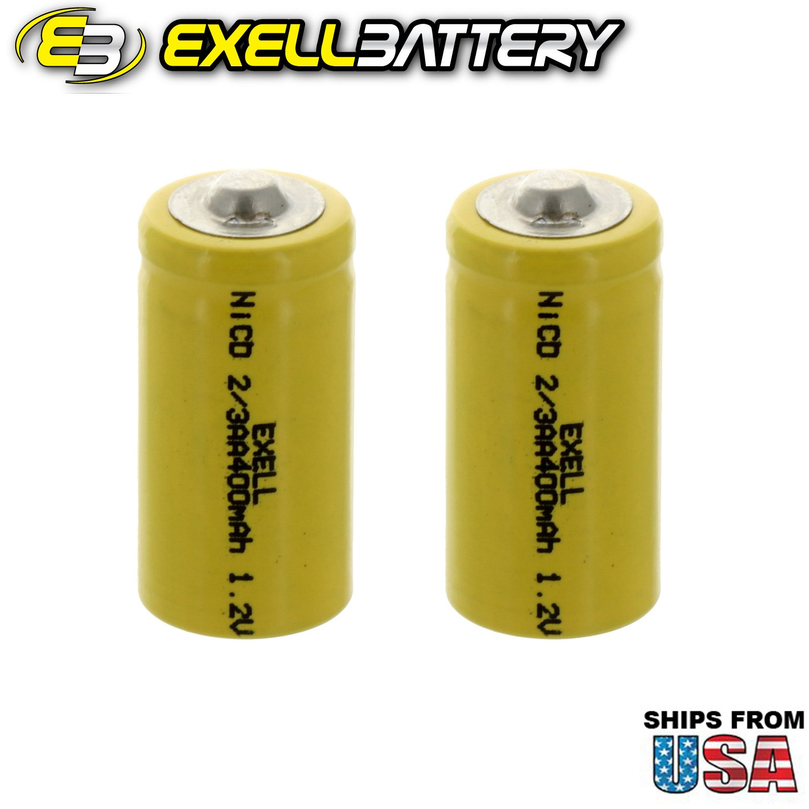2x Exell 2/3AA 1.2V 400mAh NiCD Button Top Rechargeable Batteries for high power static applications (Telecoms, UPS and Smart grid), electric mopeds, meters, radios, RC devices, electric tools