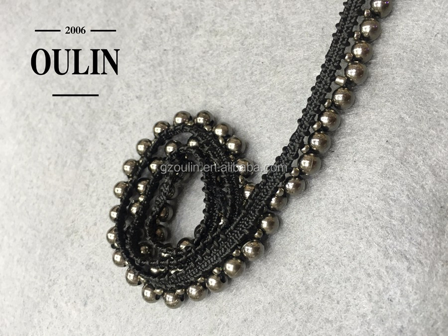 Decoration type beaded lace chain beaded lace fabric trim for garment use