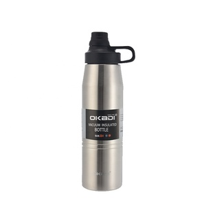 Double wall 18 8 stainless steel thermos refill vacuum flask with custom branded sports bottle