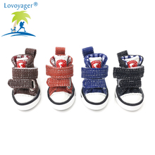 LOVOYAGER wholesale pet accessories canvas dog shoes non slip jean dog sneaker dog boots