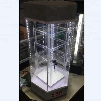 Clear Acrylic Rotating Jewelry Display Case With LED Lighting