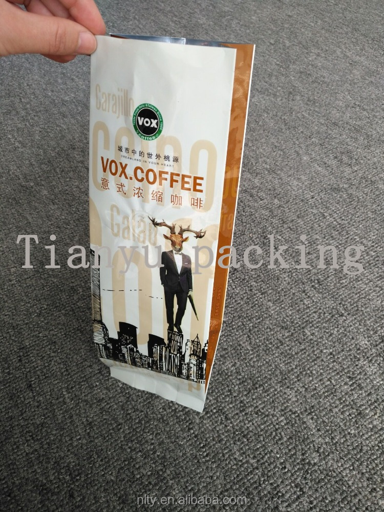food grade coffee packaging aluminum foil lined plastic valve bag