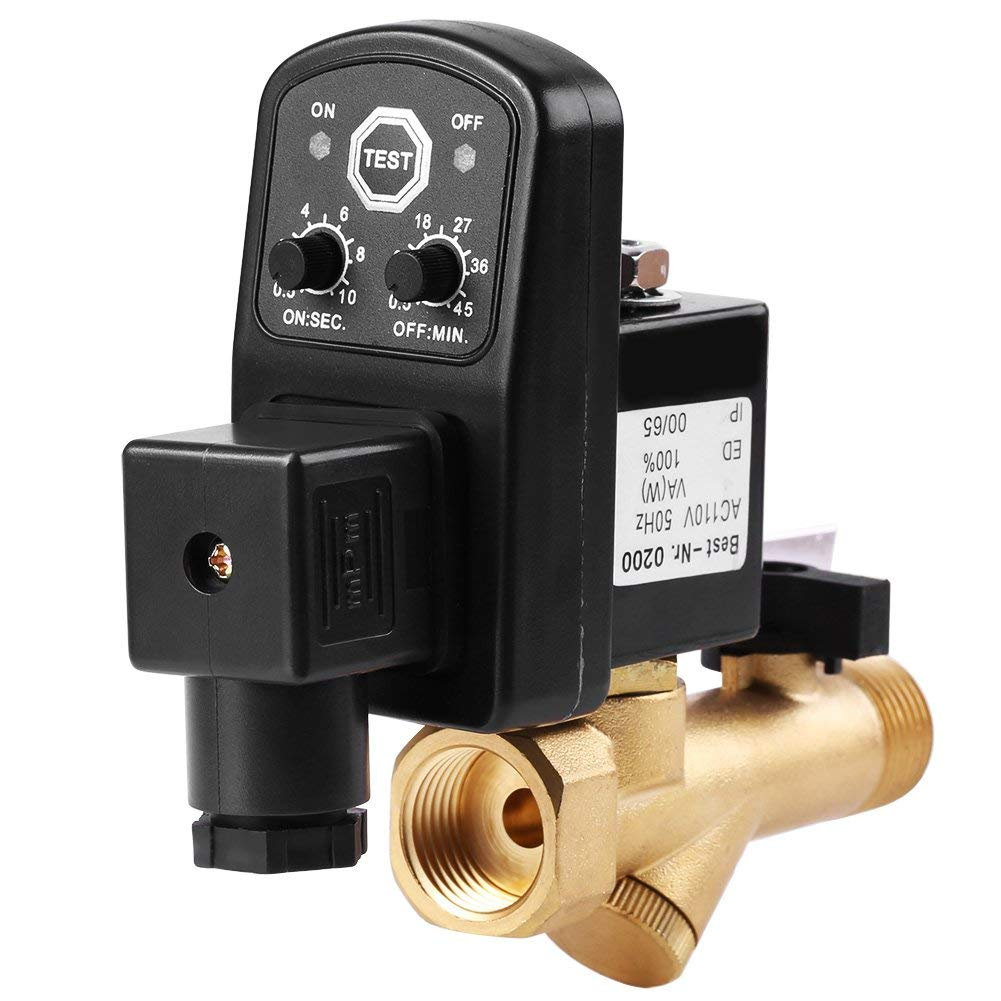 MagiDeal Electronic Timed Air Compressor Gas Tank Automatic 2way Drain Valve AC 110V