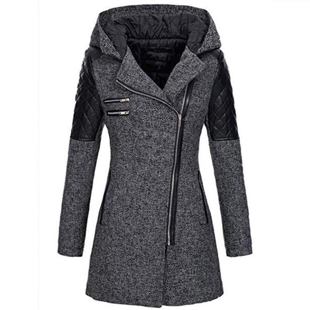 Amiley Parkas Women Winter,Womens Winter Warm Jacket Parkas Wool Slim Lapel Side Zipper Stitching Outerwear Hooded Coats