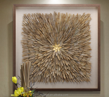 Handicraft 3d Shadow Box Frame Feather Art For Modern Decoration