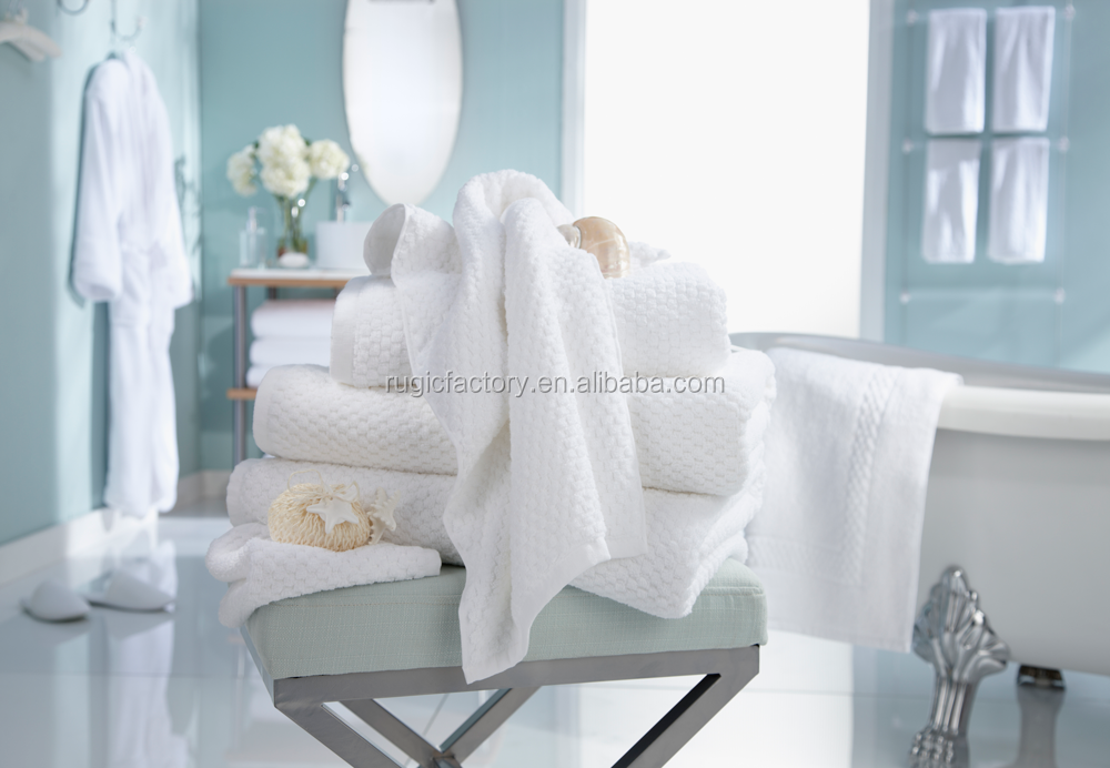 High Quality 100% Cotton Antibacterial White Hotel Terry Towel