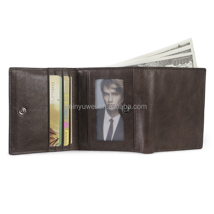 Men 100% Real Leather Billfold Wallet Multi Pocket Z Clip Money Clip Checkbook