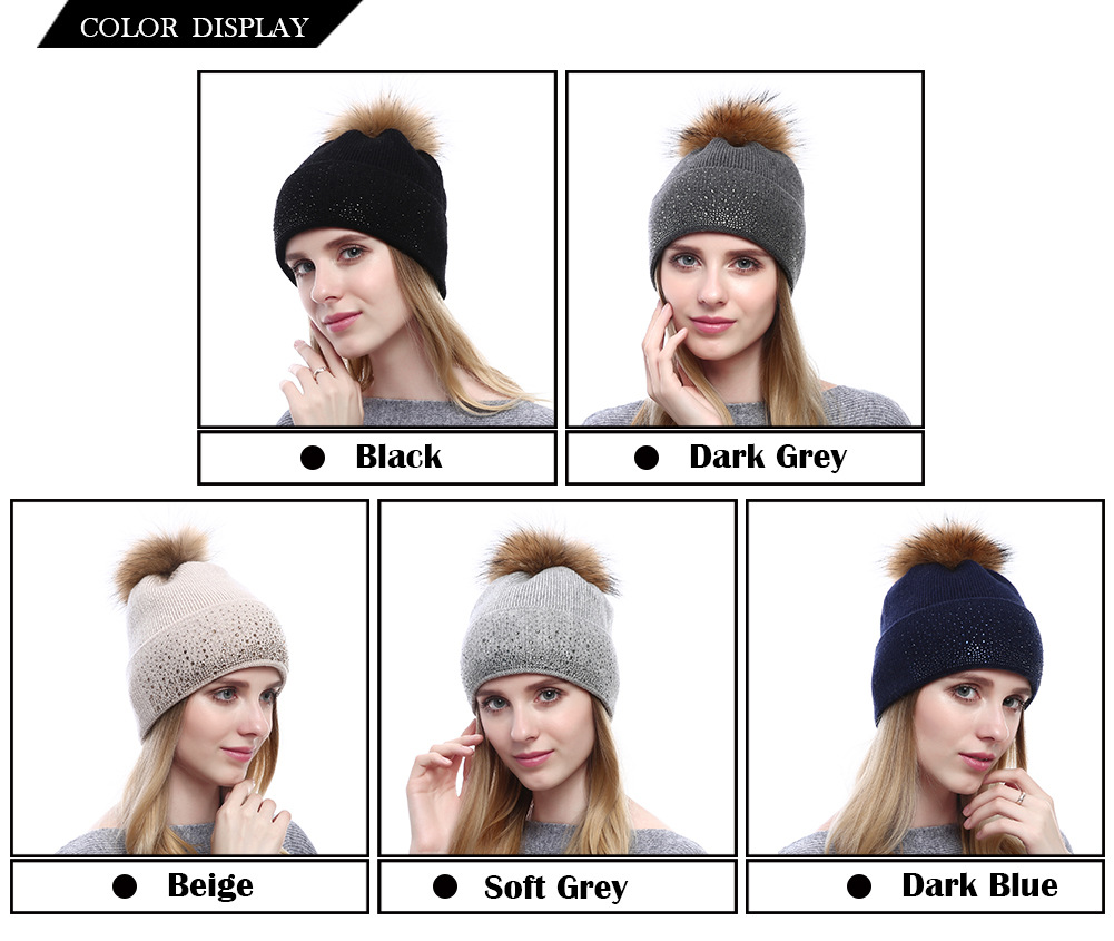 Fashion Women Winter Warm Plain Beanie Cap Hat Crochet Knitted Real Raccoon Fur Pom Pom in Cashmere