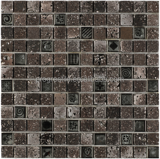 glass stone mosaic glass house for pool Lava stone mosaic outside wall tiles design PM23001
