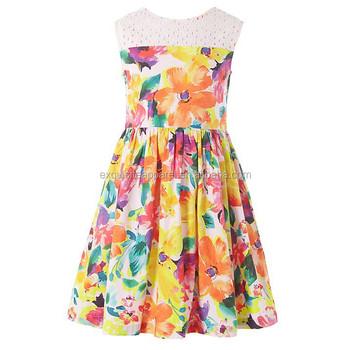 76ed06bcc 100% Cotton Printed Sleeveless Pleated Wholesale Custom Made Children Girl's  Summer Dress