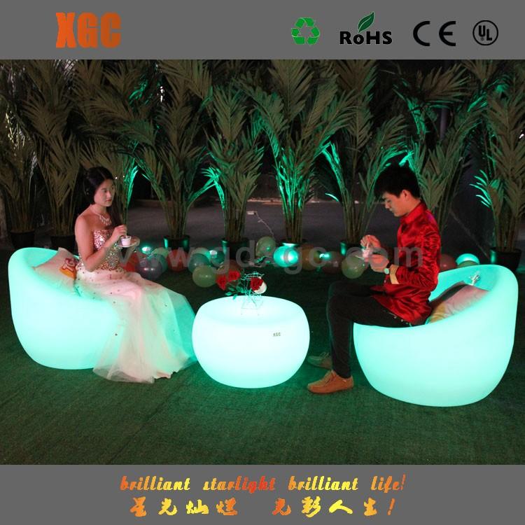 Muebles de exterior LED moderno plástico duro redondo inflable sofá ...