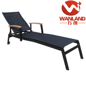 Outdoor daybed/sling sun lounger with wood armrest and wheels