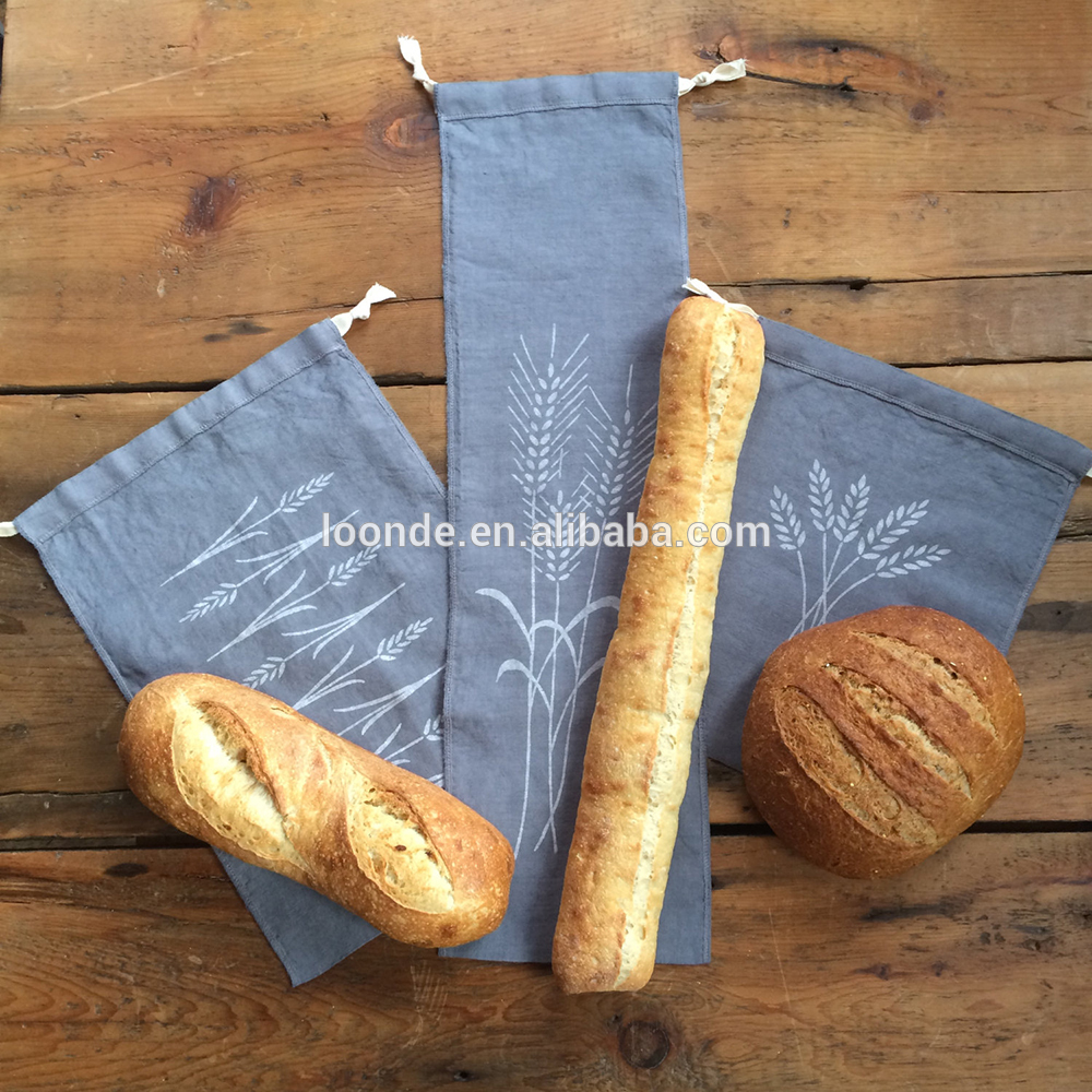 "Natural Linen Bread Bags 2-Pack 11 x 15"" Ideal for Homemade Bread Unbleached Reusable Food Storage for wedding/Bakery & Baguette"