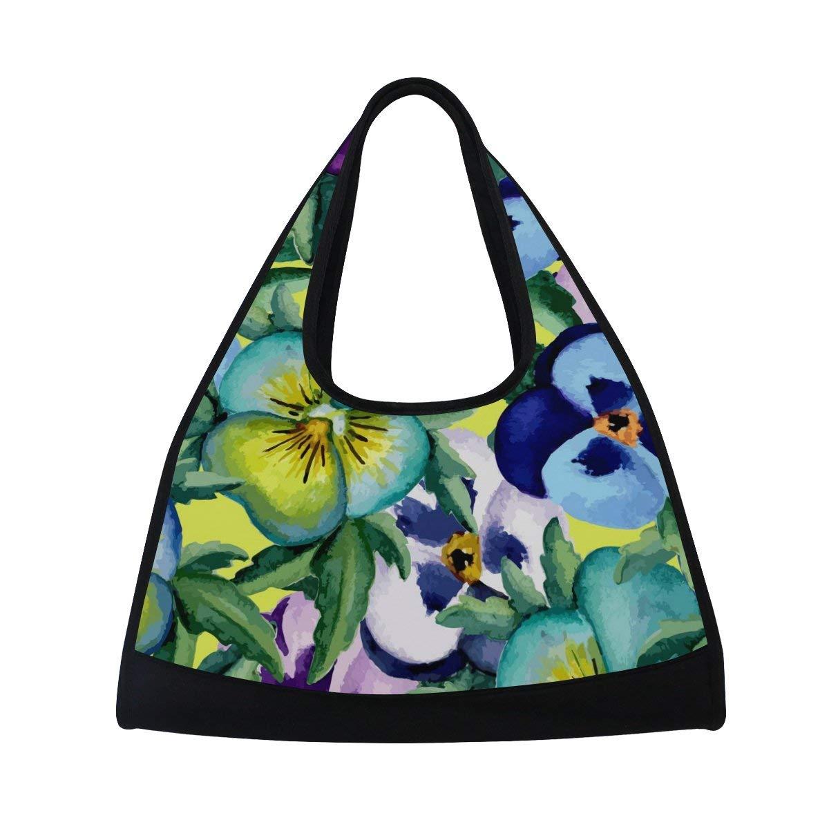 Sport Gym Bag Watercolor Flower Leaf Canvas Travel Duffel Bag