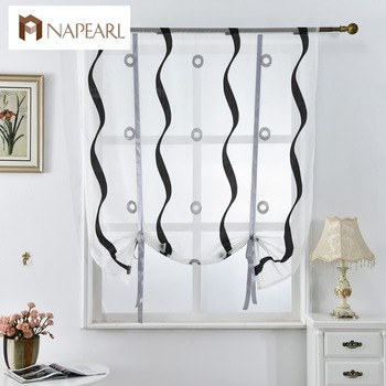 NAPEARL Kitchen curtains short roman blinds white black tulle fabrics sheer panel door curtains window treatment voile jacquard