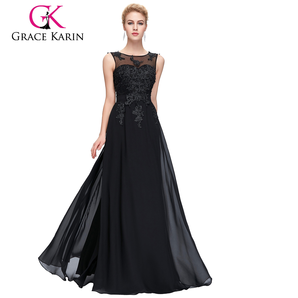 Grace Karin Plus size for Fat Women Sleeveless V-Back Black Chiffon Evening Gowns CL007555-3