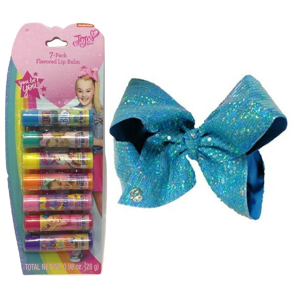 JoJo Siwa Signature Collection Bundle of Two Item Includes: JoJo Siwa Signature Collection Hair Bow – Blue Sequin Bow Clip & Jojo Siwa Lip Balms, 7 Count multicolor Gift for Girl Accessory Set