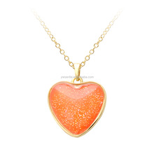Orange color Girlfriend Heart Pendant necklace with Glitter Powder