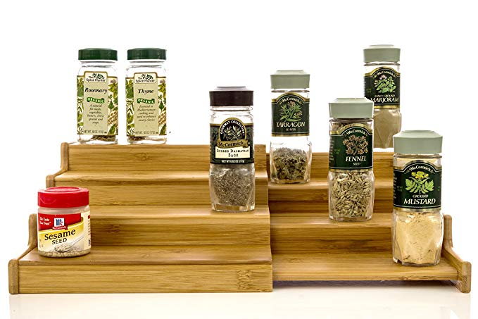 Expandable Bamboo Spice Rack Step Shelf Cabinet Organizer