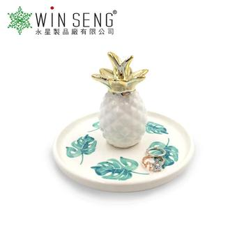 Best selling pineapple ceramic trinket plate trays