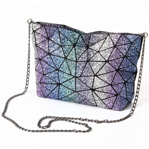 Shiny Sequined Diamond Tote Handbag Laser Folding Geometric Splicing Handbag 20b26c2b664f