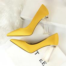 a298dc4ffe987f ... yellow wedding shoes · 2018 plus size 43 women block 10cm high heels  lady scarpins green satin pumps female wedding ...