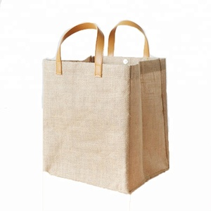 Customise burlap shopping bag jute tote bags with leather handles wholesale