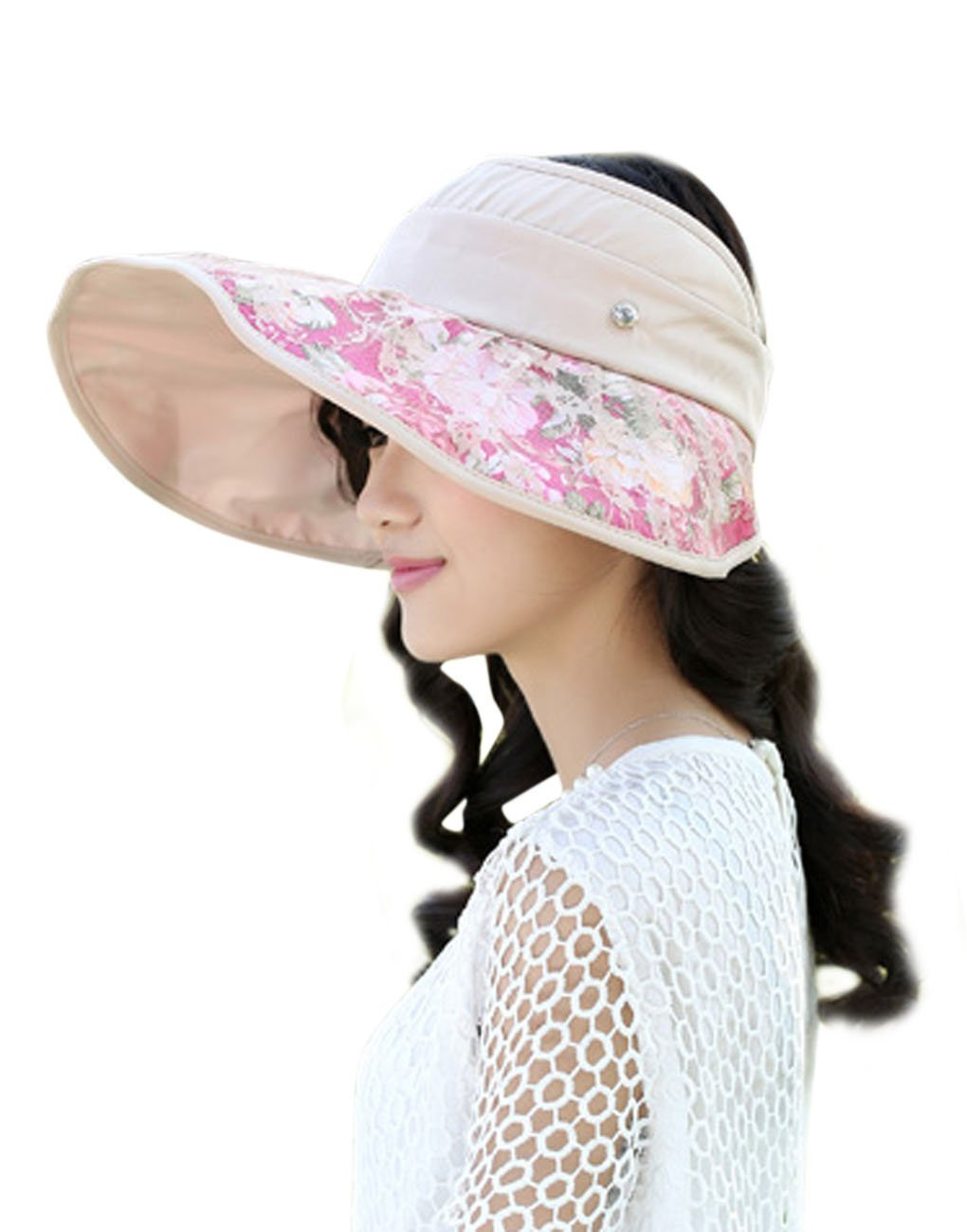 e88721f2862 Get Quotations · Fakeface Womens Lace Wide Brim Sun Visors Organza Summer  Lightweight Rolling Up Sun Hat