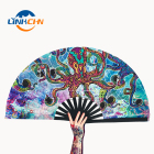 Japanese style large customized hand fan with fabric printing