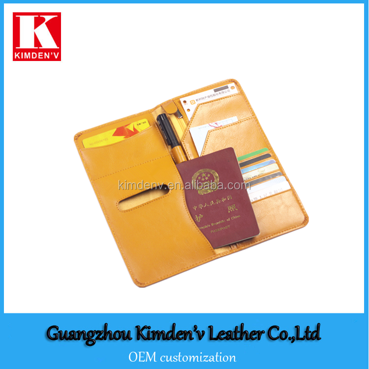leather passport holder long style ticket holder for travel