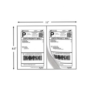 Half Sheet Blank Adhesive Shipping Labels 2 per sheet