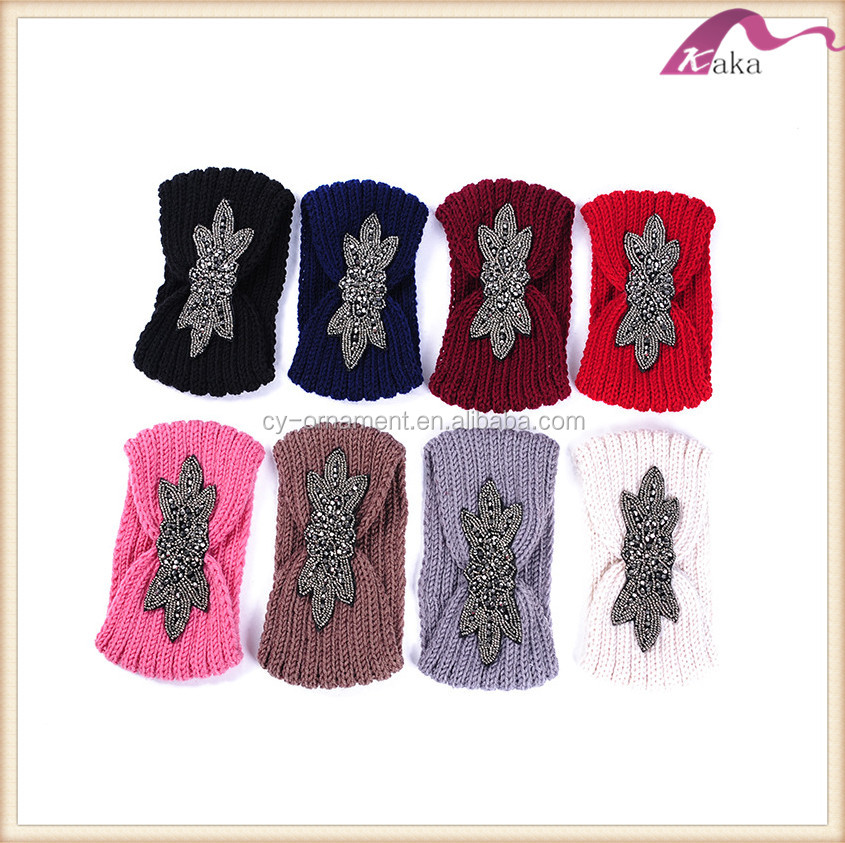 Women iris flower-de-luce knitted wool head band,multicolor available head warp wear