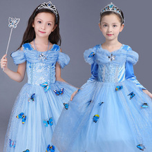The blue fantasy girl dresses the tulle dress full-length 2017 party children frocks design