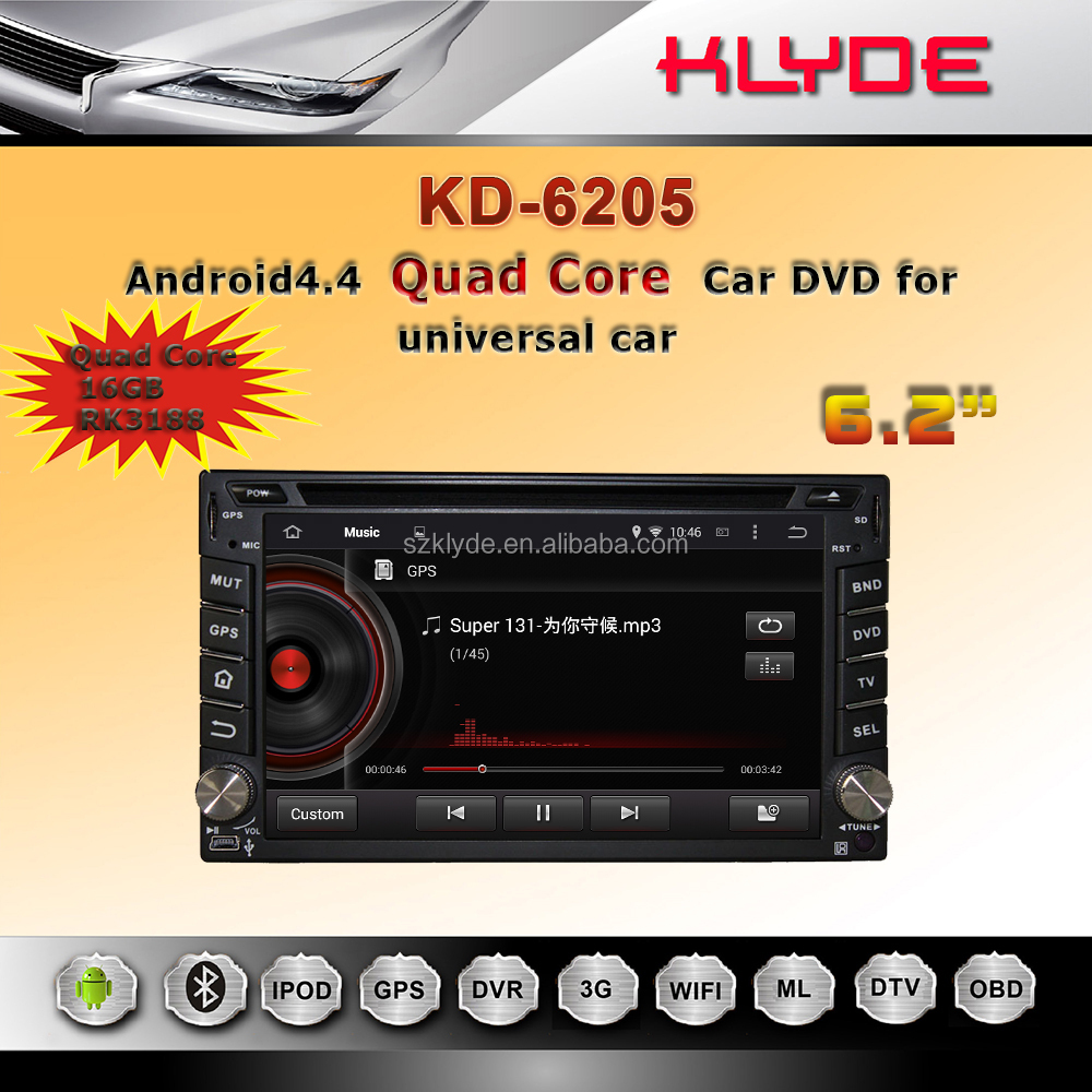 KLYDE Novel Item High Quality Android 4.4 HD Screen Quad core 16GB autoradio 2din