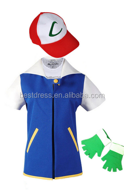 vendita a buon mercato usa ultime tendenze del 2019 selezione mondiale di Walson Unisex Pokemon Go Ash Ketchum Trainer Cosplay Giacca Guanti Cappello  - Buy Unisex Pokemon Costume,Ash Ketchum Costume,Costume Cosplay Product ...