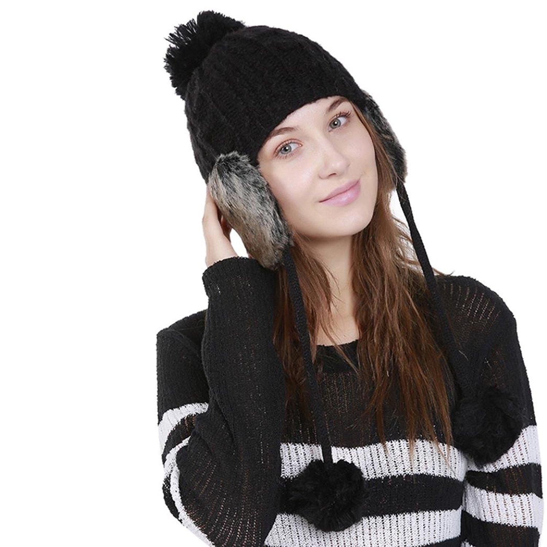 86614c1d8daf2b Get Quotations · Connia Women Wool Knit Hat Ladies Warm Crochet Winter Hat  Ski Beanie Caps Hat Protect Ears