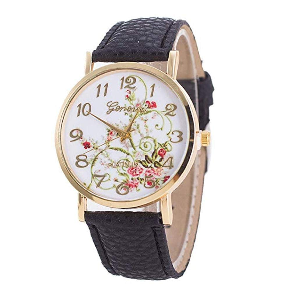 Women's Quartz Watches, Windoson Unique Analog Fashion Clearance Lady Watches Female Watches Casual Wrist Watches for Women,Round Dial Case Comfortable PU Leather Watch (Black)