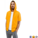 cool fashion man Drawstring hood Side pockets Fitted trims zip up blank short sleeve hoodie in yellow
