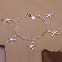 ladies silver bracelets Chic Silver Plated Charm Hand Chain Lady Girl Jewelry Starfish Bracelet